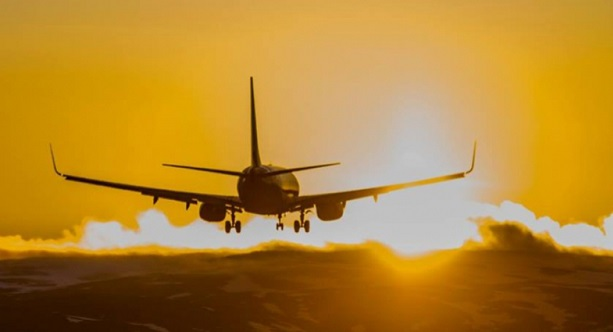 Aeroplain in the sunset