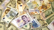 Money , banknotes. Dollar , Euro and Norwegian kroner.