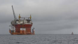 Oil platform Goliat entering Hammerfest