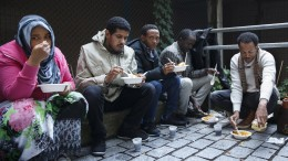 Asylum seekers outside the police Immigration on Toyen, Oslo,