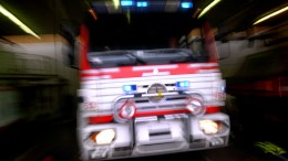 Fire truck under the emergency response.