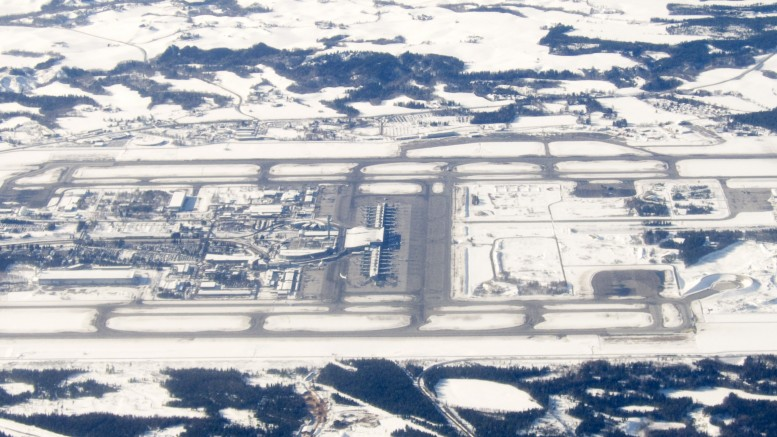 Aerial photo of Oslo Gardermoen Airport.
