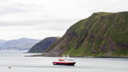 "Illustration photo of Hurtigruten ""MS Richard With"" outside Honningsvåg on Magerøya in Finnmark,"
