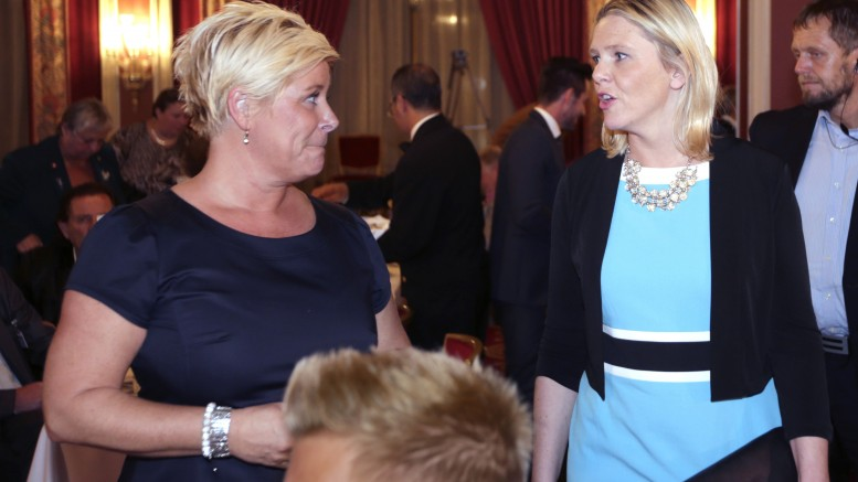 Progress Party leader Siv Jensen and Minister of Immigration and Integration Sylvi Listhaug