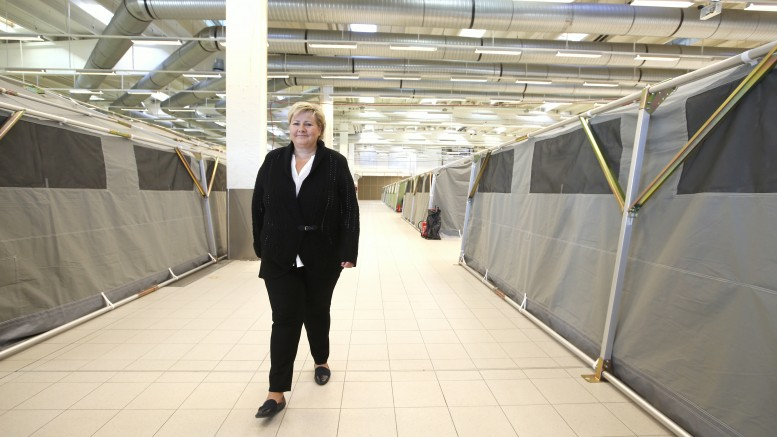 Prime Minister Erna Solberg visit the new reception center for asylum seekers in Råde in Østfold