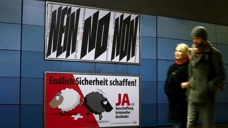 A poster of Swiss People's Party (SVP), demanding to vote for an initiative to deport criminal foreigners