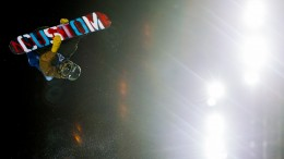 Ayumu Hirano from Japan in action during the finals of snowboard superpipe men