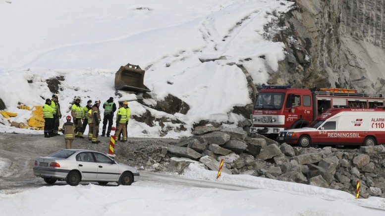Blasting accident at E16 between Bagn and Bjørgo in Valdres Monday afternoon