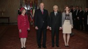 State visit Italia.Kong Harald and Queen Sonja together with Italy Prsident Sergio Mattarella and his daughter Laura