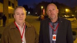 Scandinavian chief of Halliburton, Charles Miller and Knut Neslandskyrkja, main employee representative of Halliburton Norway.