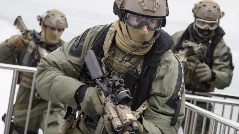 Marines and soldiers from the armed forces ' special command (FSK)