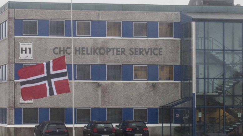 CHC Helikopter Service flags at half mast on Monday afternoon.
