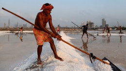 Labourers work on a salt pan on a hot summer morning in Mumbai