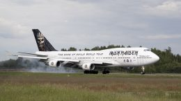 """Ron maiden's own airplane """"Ed Force One"""" arrived at the Oslo airport Monday night"""