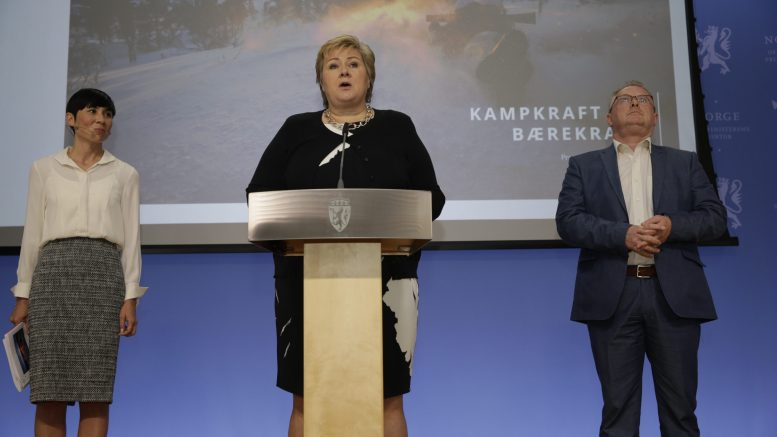Prime Minister Erna Solberg, Minister of Defence Ine Eriksen Søreide and Deputy Progress Party, Per Sandberg
