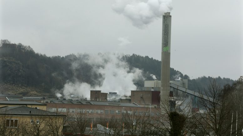 The smoke rises from Norwegian Forestry Saugbrugs Halden