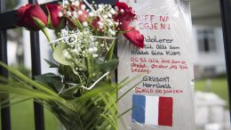 Flowers laid down by the French Embassy