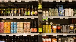 Different beers on store shelves