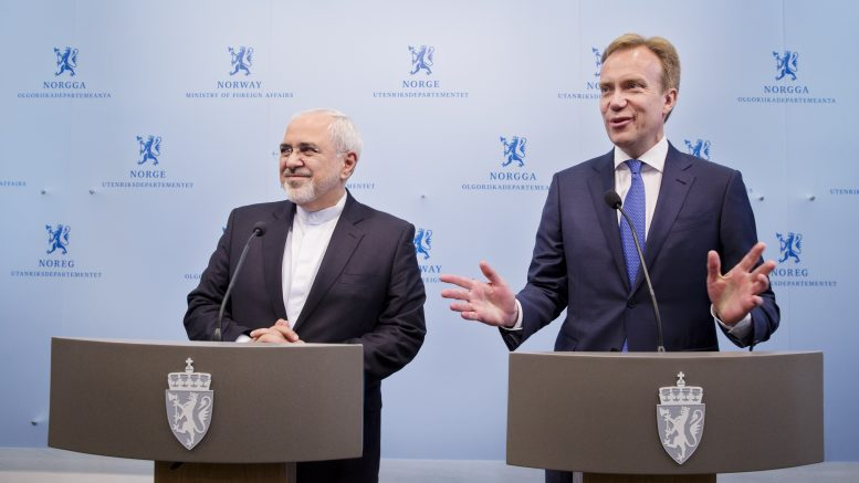 Iran's foreign minister, Mohamad Javad Zarif and Foreign Minister Børge Brende.