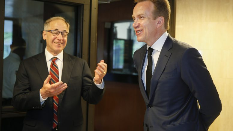 US ambassador in Oslo, Samuel Heins and Minister of Foreign Affairs Børge Brende