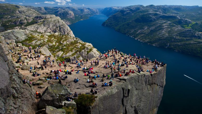 Pulpit Rock in Lysefjord in Rogaland Innovation Norway