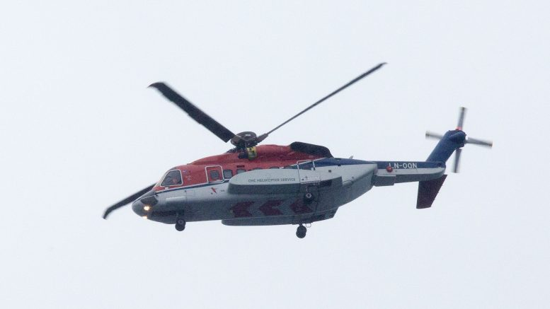 A helicopter from helicopter company CHC