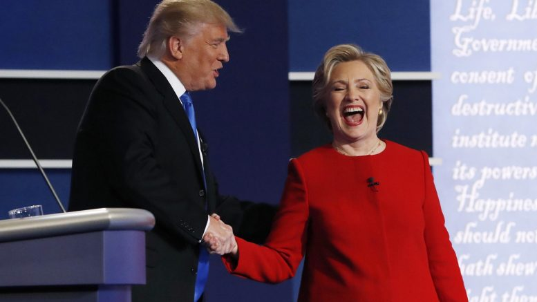 Donald Trump greets Democratic U.S. presidential nominee Hillary Clinton
