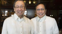 Philippine Peace minister Jesus Dureza (R) and Jose Maria Sison (NDFP)