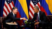 U.S. President Barack Obama shakes hands with Colombian President Juan Manual Santos