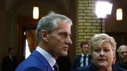The Labor Party's leader Jonas Gahr and Prime Minister Erna Solberg