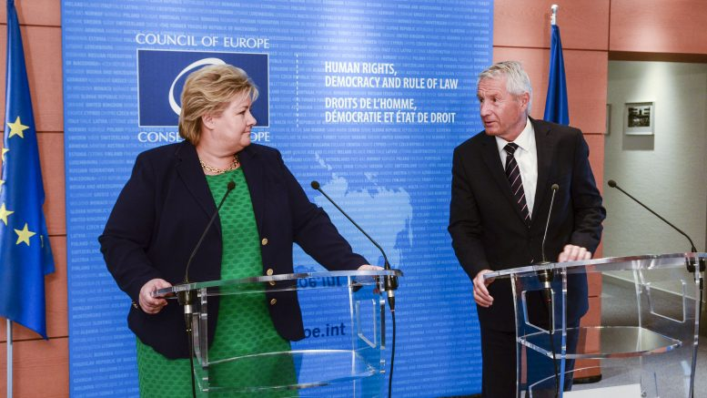 Prime Minister Erna Solberg at a joint press conference with Council of Europe Secretary general Thorbjorn Jagland.