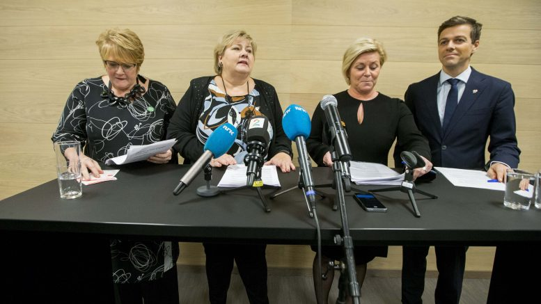 The Liberal Party leader Trine Skei Grande(L),Prime Minister Erna Solberg ( Conservative Party),Siv Jensen of the Progress Party, and Christian Democratic Party leader, Knut Arild Hareide.
