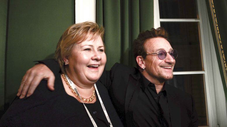 Erna Solberg and Bono