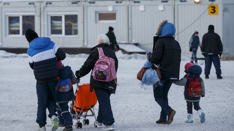 Asylum seekers in the arrival Center for refugees in Kirkenes