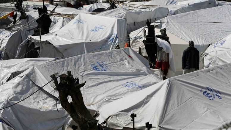 Moria refugee detention center refugees