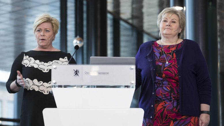 Oil Fund, Prime Minister Erna Solberg and Finance Minister Siv Jensen