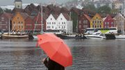 Rainy weather in Bergen city