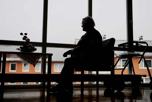 Silhouette of a Senior Woman in a Nursery Home