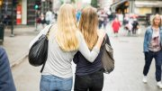 Young girls in their teens on Karl Johans gate in Oslo