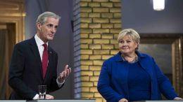 Prime minister Erna Solberg ,and Labor Party leader Jonas Gahr Støre