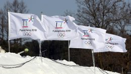 Flags with the emblems of the 2018 Pyeongchang Olympic Winter Games flutter in Pyeongchang, South Korea