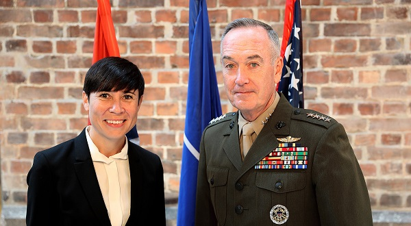 Oslo, Norway .US Defense Chief General Joseph F. Dunford Jr. welcomes Defense Minister Ine Eriksen Søreide,