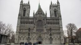 Prime Minister Erna Solberg Nidaros Cathedral in Trondheim on Sunday morning.