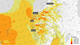 Low pressures storm rain western norway