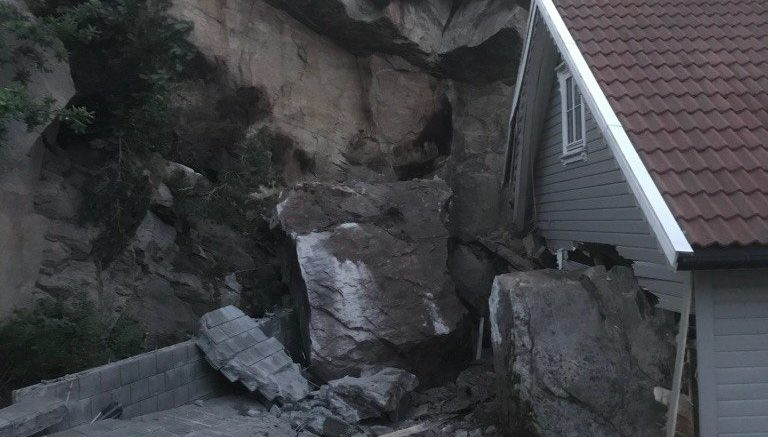 boulder crashing into cabin