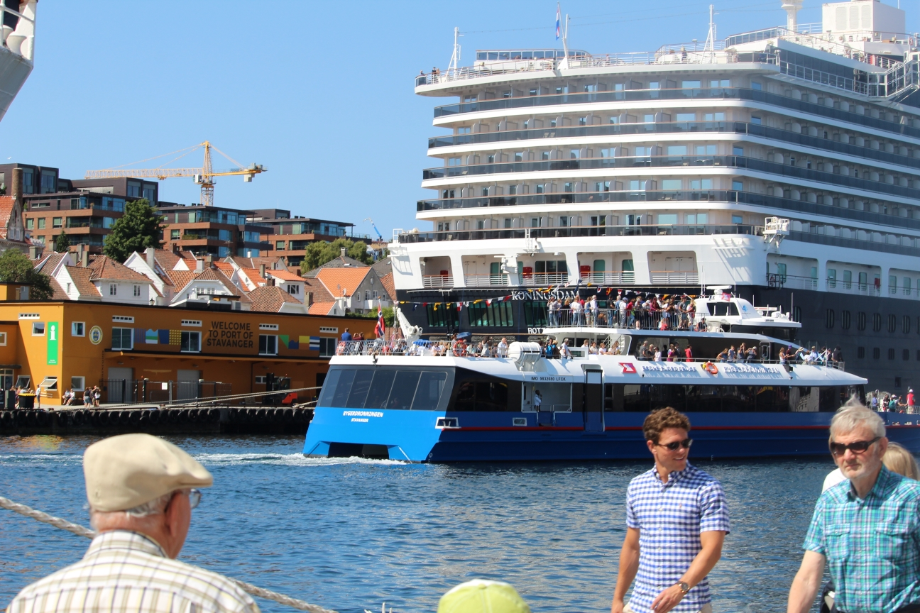 The Cruise Ship Koningsdam in the Port of Stavanger tourists