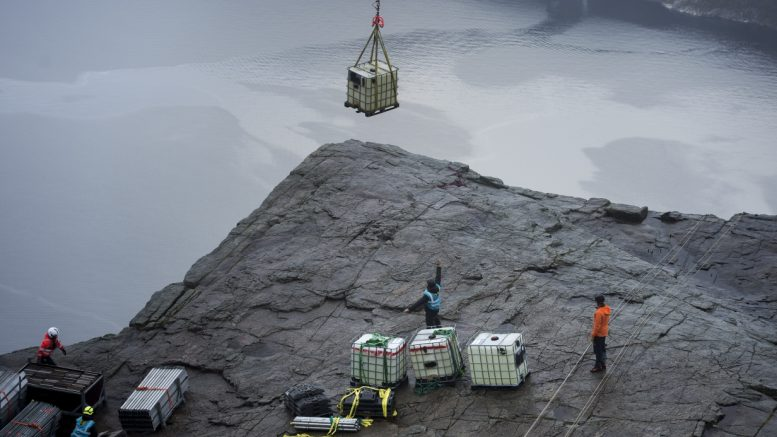 Mission Impossible shooting at the Pulpit Rock
