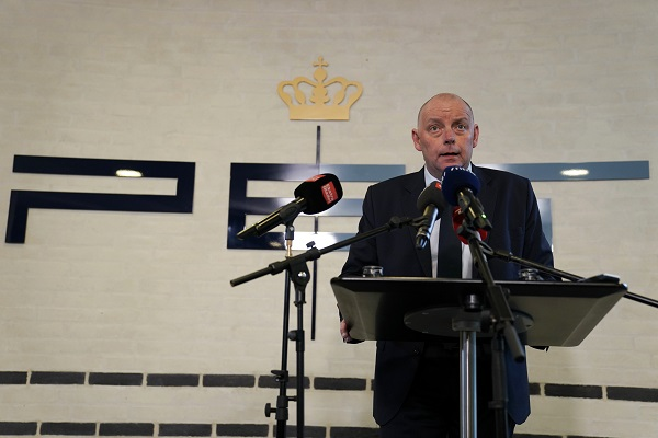 Copenhagen, Denmark. Finn Borch Andersen, chief of PET holds a press conference in Copenhagen