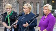 Prime Minister Erna Solberg, Minister of Finance Siv Jensen (t.h) and Minister of Culture Trine Skei Grande (t.v), gender-equality