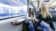 Girls sitting on train